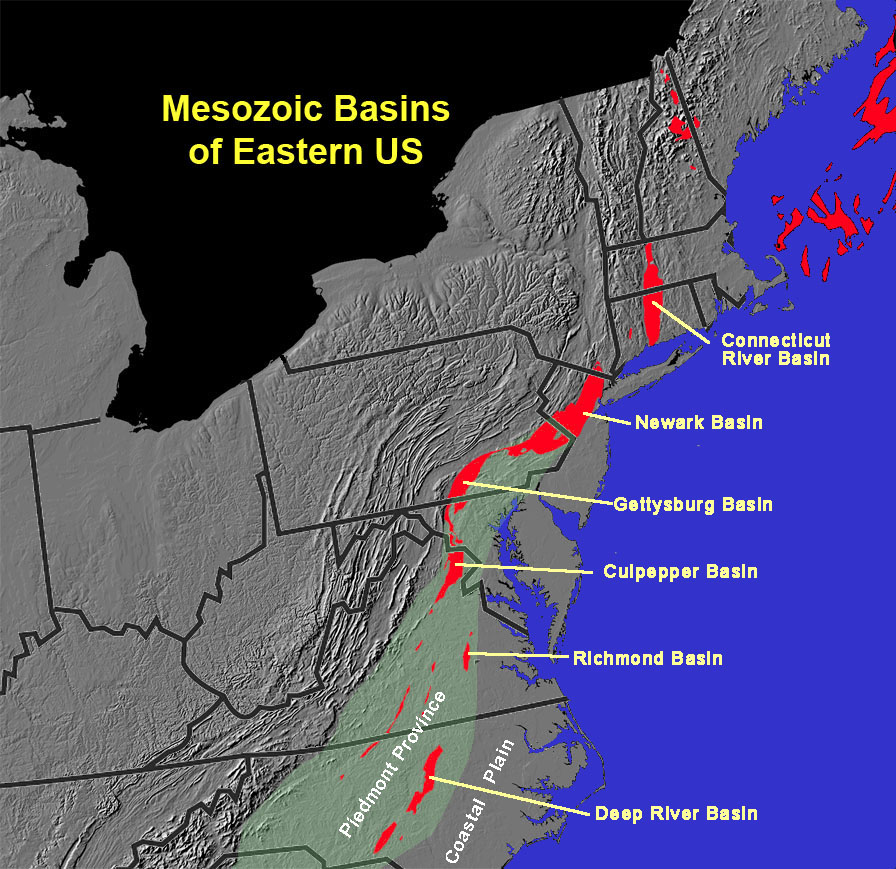 Mesozoic Basins Of The Piedmont Province In The Eastern United States