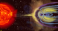 Coronal mass ejections result in the solar wind which is deflected and captured by the Earth's magnetic field.
